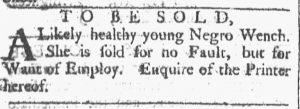 Sep 15 1770 - Providence Gazette Slavery 1
