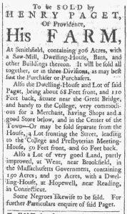 Sep 15 1770 - Providence Gazette Slavery 2