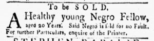 Sep 17 1770 - New-York Gazette and Weekly Mercury Slavery 1