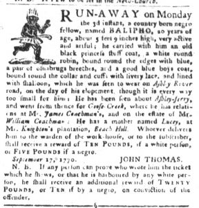 Sep 18 1770 - South-Carolina Gazette and Country Journal Slavery 1