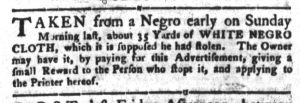 Sep 18 1770 - South-Carolina Gazette and Country Journal Supplement Slavery 1