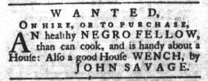 Sep 18 1770 - South-Carolina Gazette and Country Journal Supplement Slavery 2