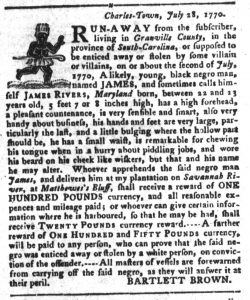 Sep 18 1770 - South-Carolina Gazette and Country Journal Supplement Slavery 7