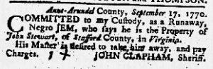 Sep 20 1770 - Maryland Gazette Slavery 1