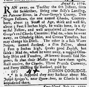 Sep 20 1770 - Maryland Gazette Slavery 3