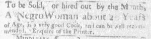 Sep 20 1770 - Massachusetts Gazette and Boston Weekly News-Letter Slavery 1