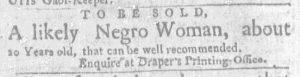 Sep 20 1770 - Massachusetts Gazette and Boston Weekly News-Letter Slavery 2