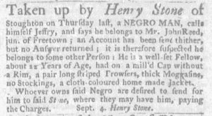 Sep 20 1770 - Massachusetts Gazette and Boston Weekly News-Letter Slavery 3
