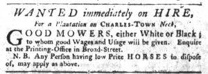 Sep 20 1770 - South-Carolina Gazette Slavery 1