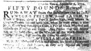 Sep 20 1770 - South-Carolina Gazette Slavery 2