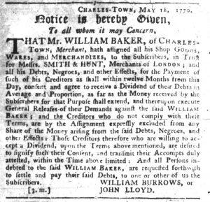 Sep 20 1770 - South-Carolina Gazette Slavery 7