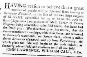 Sep 20 1770 - Virginia Gazette Rind Slavery 1