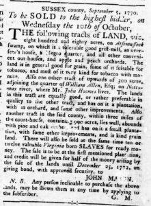 Sep 20 1770 - Virginia Gazette Rind Slavery 2