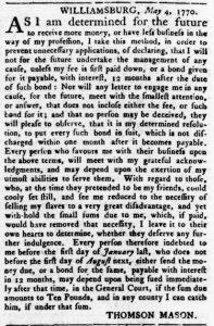 Sep 20 1770 - Virginia Gazette Rind Slavery 5