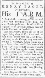 Sep 22 1770 - Providence Gazette Slavery 1