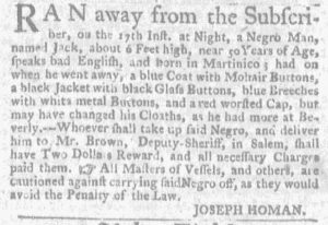 Sep 27 1770 - Massachusetts Gazette and Boston Weekly News-Letter Slavery 1