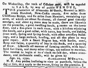 Sep 27 1770 - Pennsylvania Gazette Slavery 1