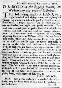 Sep 27 1770 - Virginia Gazette Rind Slavery 3