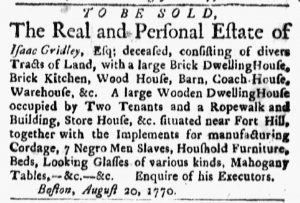 Sep 3 1770 - Boston Evening-Post Slavery 1