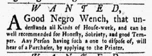 Sep 3 1770 - New-York Gazette and Weekly Mercury Slavery 2