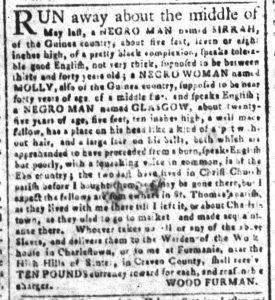 Sep 3 1770 - South-Carolina and American General Gazette Slavery 1