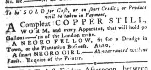 Sep 4 1770 - South-Carolina Gazette and Country Journal Slavery 5