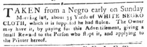 Sep 4 1770 - South-Carolina Gazette and Country Journal Slavery 7