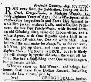 Sep 6 1770 - Maryland Gazette Slavery 1