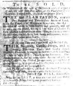 Sep 6 1770 - South-Carolina Gazette Slavery 1