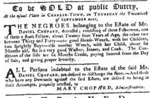 Sep 6 1770 - South-Carolina Gazette Supplement Slavery 4