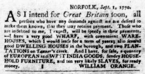 Sep 6 1770 - Virginia Gazette Purdie & Dixon Slavery 2