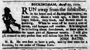 Sep 6 1770 - Virginia Gazette Purdie & Dixon Slavery 6
