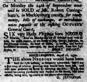 Sep 6 1770 - Virginia Gazette Purdie & Dixon Slavery 9