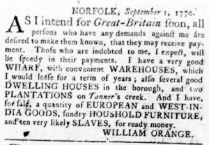 Sep 6 1770 - Virginia Gazette Rind Slavery 3