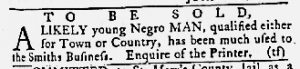 Apr 12 1770 - Maryland Gazette Slavery 1