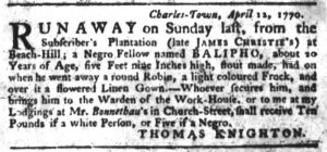 Apr 12 1770 - South-Carolina Gazette Slavery 1