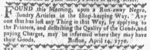 Apr 16 1770 - Boston-Gazette Slavery 1