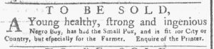 Apr 16 1770 - New-York Gazette or Weekly Post-Boy Slavery 1