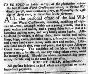 Apr 17 1770 - South-Carolina Gazette and Country Journal Supplement Slavery 1