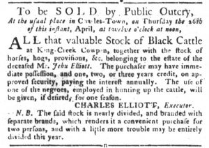 Apr 17 1770 - South-Carolina Gazette and Country Journal Supplement Slavery 10