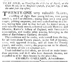 Apr 17 1770 - South-Carolina Gazette and Country Journal Supplement Slavery 9