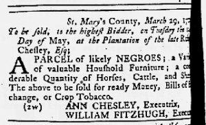 Apr 19 1770 - Maryland Gazette Slavery 1