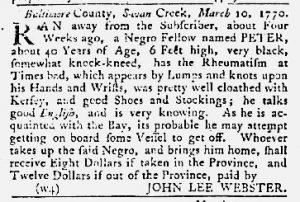 Apr 19 1770 - Maryland Gazette Slavery 5
