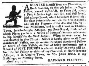 Apr 19 1770 - South-Carolina Gazette Slavery 13