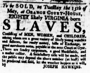Apr 19 1770 - Virginia Gazette Rind Slavery 1