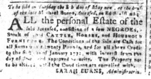 Apr 20 1770 - South-Carolina and American General Gazette Slavery 1