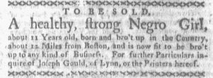 Apr 23 1770 - Boston-Gazette Slavery 1