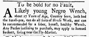 Apr 23 1770 - New-York Gazette and Weekly Mercury Slavery 2