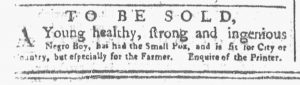 Apr 23 1770 - New-York Gazette or Weekly Post-Boy Slavery 1