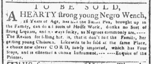 Apr 23 1770 - New-York Gazette or Weekly Post-Boy Slavery 2